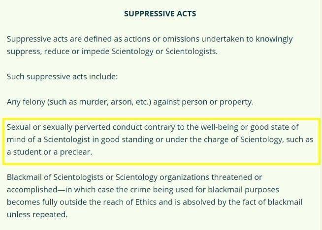 Pedophilia a Scientology high crime