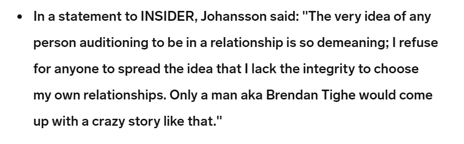 Scarlett Johansson on Brendan Tighe