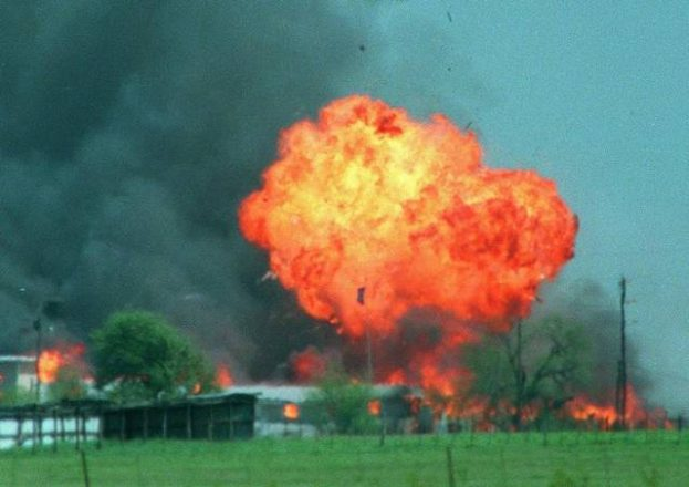 Huge fireball explosion over a bunch of burning cult members in Waco Texas, 1993.