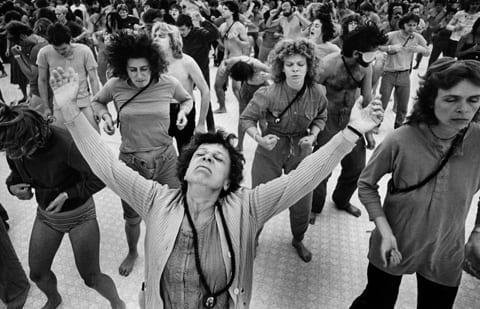 1970's Cult Members Worshiping